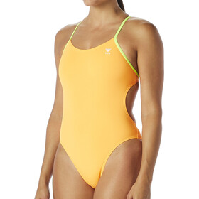 TYR Solid Cutoutfit Traje de baño Mujer, fluo orange/yellow